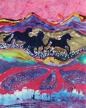 Horses Running Thru a Stream by Carol  Law Conklin