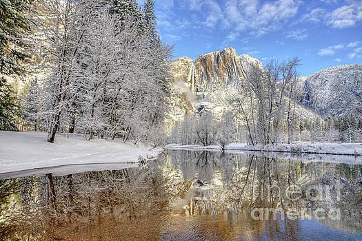 Horsetail Fall Reflections Winter Yosemite National Park by Wayne Moran