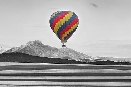 James BO  Insogna - Hot Air Balloon and Longs Peak - Black White and Color