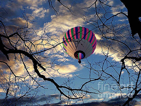 Hot Air Balloon Floating Across the Night Sky by Jenness Asby
