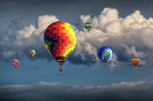 Randall Nyhof - Hot Air Balloons and Cloudy Sky at a Balloon Festival