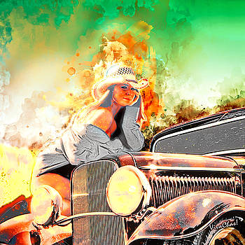 Hot Rod Pinup Happiness is a Warm Sun by Chas Sinklier