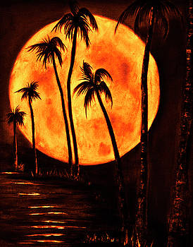 Hot Island summer moon  by Rolly Mouchaty