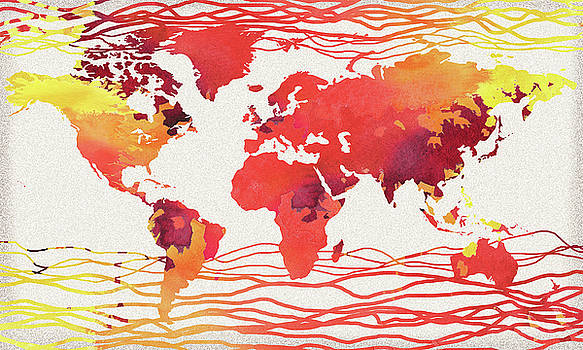 Hot Wave World Map Watercolor by Irina Sztukowski