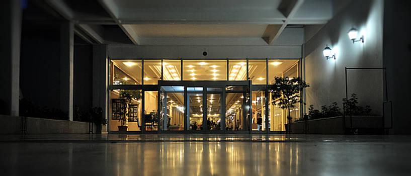 Hotel entrance taken at dusk by Adrian Hancu
