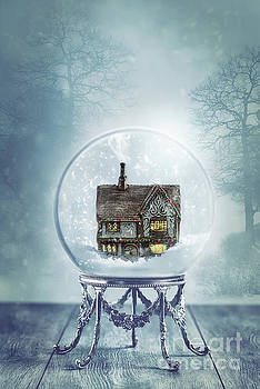 House In Glass Crystal Ball by Amanda Elwell