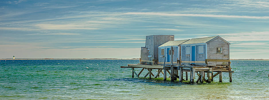 House On The Beach With Lighthouse Panorama by Dapixara Art