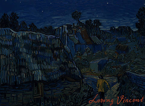 Houses in Auvers - night by Yanis Alexakis