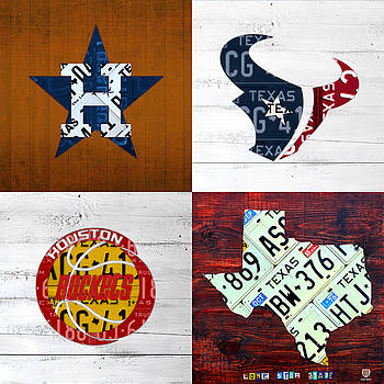 Design Turnpike - Houston Sports Fan Recycled Vintage Texas License Plate Art Astros Texans Rockets and State Map