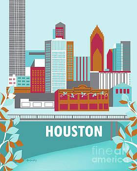 Houston Texas Vertical Skyline by Karen Young