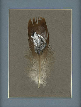 Howling Grey Wolf Painted Feather by Brandy Woods