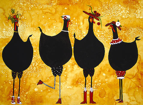 Four Fashionable Fowls by Debi Hubbs