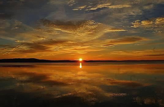 Hudson River Sunrise Reflection  by Thomas McGuire