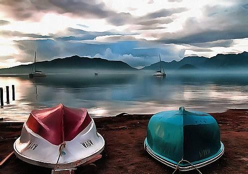 Tracey Harrington-Simpson - Hulls of Boats And Marmaris Winter Seascape