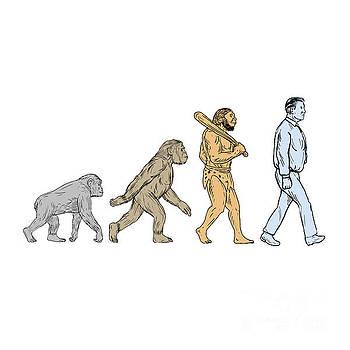 Human Evolution Walking Drawing by Aloysius Patrimonio