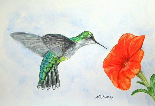 Hummer with Orange Bloom by Marna Edwards Flavell