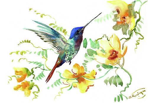 Hummibgbird and Yellow Flowers by Suren Nersisyan
