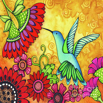 Hummingbird and Flowers by Holly Kitaura