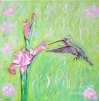 Hummingbird and Gladioli by Kirsten Sneath