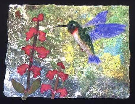 Hummingbird And Penstemon by Joan Lyon