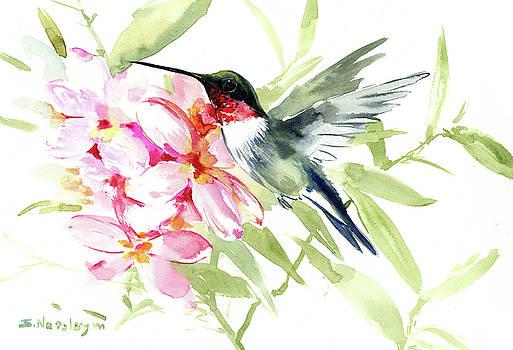 Hummingbird and Plumeria by Suren Nersisyan