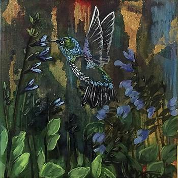 Hummingbird and Salvia by Melissa Torres