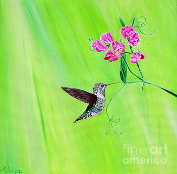 Hummingbird and Sweet Peas by Kirsten Sneath