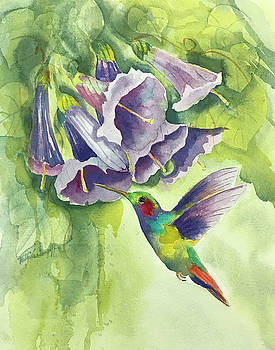 Hummingbird and Trumpets by Hilda Vandergriff