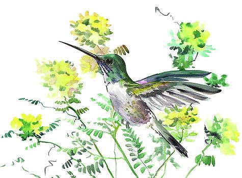 Hummingbird and Yellow Flowers by Suren Nersisyan