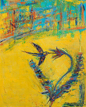 Hummingbird in Garden by Maggis Art