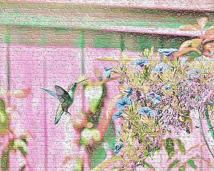 Hummingbird In The Garden by Kerri Farley
