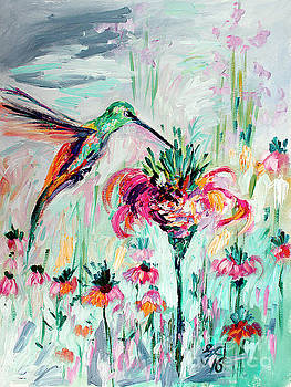 Hummingbird Modern Impressionist Oil Painting by Ginette Callaway
