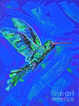 Hummingbird on blue by Paola Correa de Albury