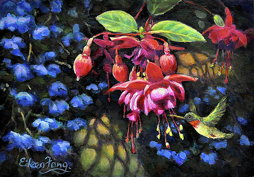 Hummingbird with Fuchsia and Blue Bells by Eileen  Fong