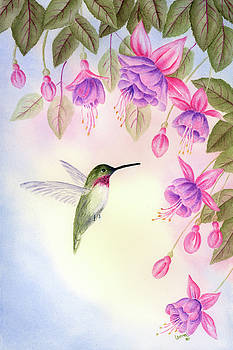 Hummingbird with Fuchsia by Leona Jones