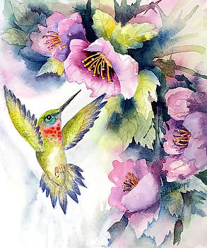 Hummingbird with Pink Flowers by Hilda Vandergriff