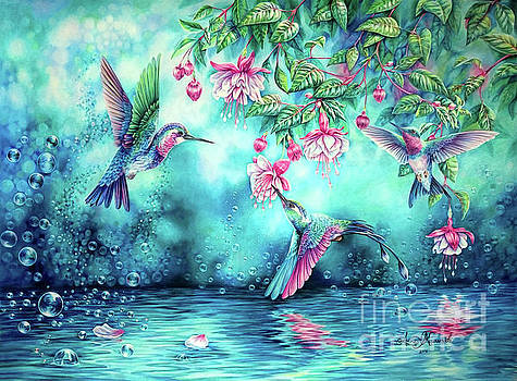 Hummingbirds and bubbles by Anne Koivumaki - Fine Art Anne