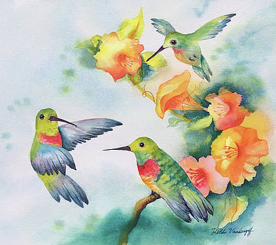 Hummingbirds with Orange Flowers by Hilda Vandergriff