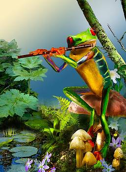 Humorous Tree Frog Playing the Flute  by Regina Femrite