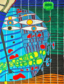 Hundertwasser Blue Moon Atlantis Escape to Outer Space in 3D by J.J.B by Jesse Jackson Brown