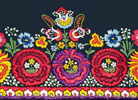 Hungarian Magyar Matyo Folk Embroidery Detail by Andrea Lazar