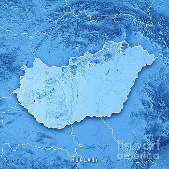 Hungary Country 3D Render Topographic Map Blue Border by Frank Ramspott
