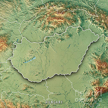 Hungary Country 3D Render Topographic Map Border by Frank Ramspott
