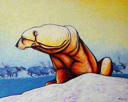 Hunger Burns - Polar Bear and Caribou by Joe  Triano