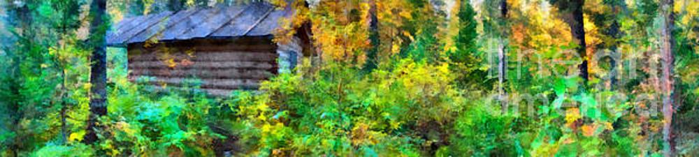 Hunter hut in taiga,  Eastern Sayan, Krasnoyarsk region, Siberia, Russia by Magomed Magomedagaev