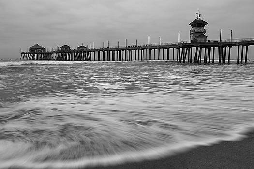 Huntington Beach Morning in Black and White by John Daly