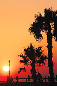 Huntington Beach Pier Sunset by Carol Tsiatsios