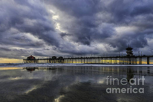 Huntington Beach Pier Sunset with Reflections by Peter Dang