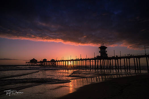 Huntington Pier at Sunset by T A Davies