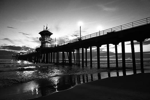 Huntington Beach Pier Black and White by Kip Krause